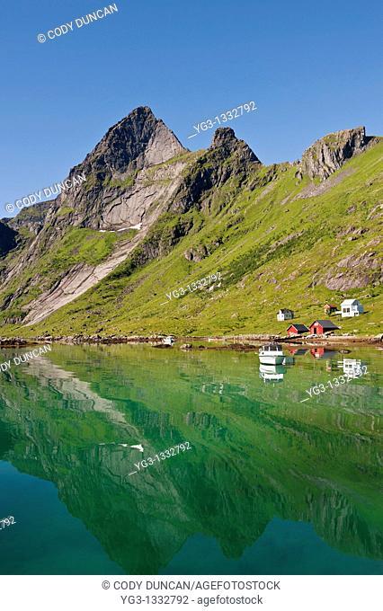 Scenic mountain reflection, Vindstad, Lofoten islands, Norway