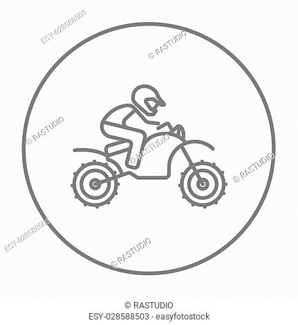 Man riding a motocross bike line icon for web, mobile and infographics. Vector grey thin line icon in the circle isolated on white background
