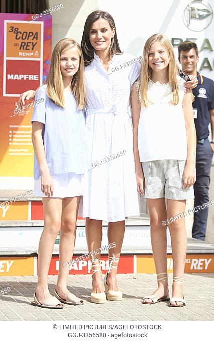 Crown Princess Leonor, Princess Sofia is seen at Real Club Nautico during 38th Copa del Rey Mapfre Sailing Cup - Day 4 on August 1, 2019 in Palma, Spain