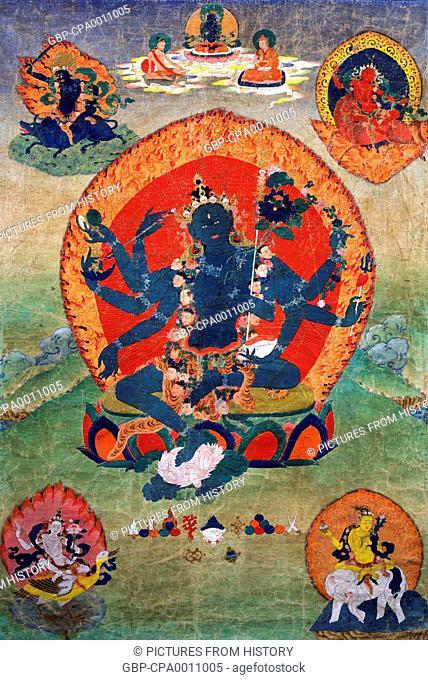 China / Tibet: Thangka of Samaya Tara Yogini (Green Tara) with smaller blue, red, yellow and white tara in the four corners, Eastern Tibet, 18th century