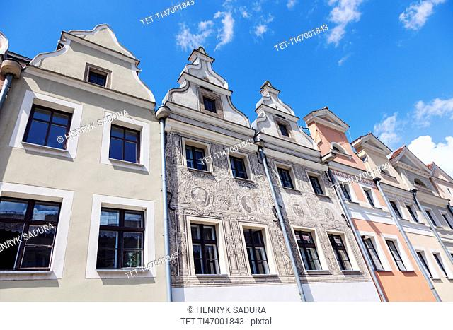 Poland, Lower Silesian, Legnica, Low angle view of buildings with ornate gables