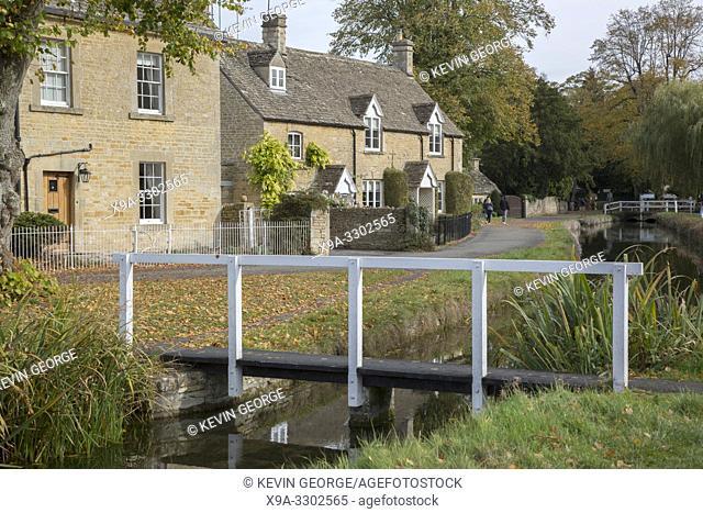 Wooden Bridge, Lower Slaughter, Cotswold Village, Cheltenham, England, UK