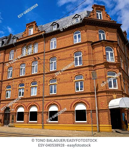 Nordhausen brick facades and windows in Harz Thuringia of Germany