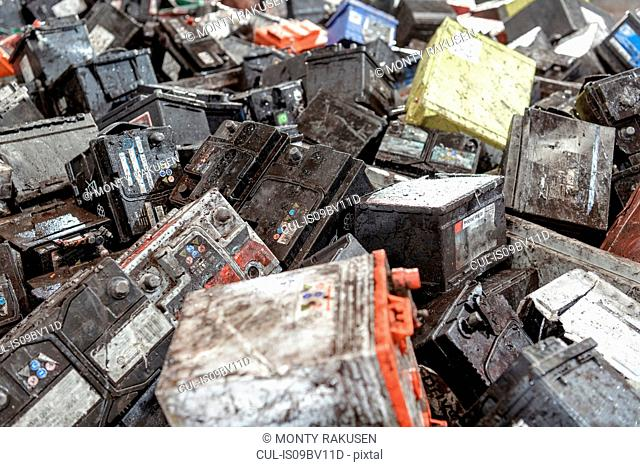 Car batteries in vehicle battery recycling plant