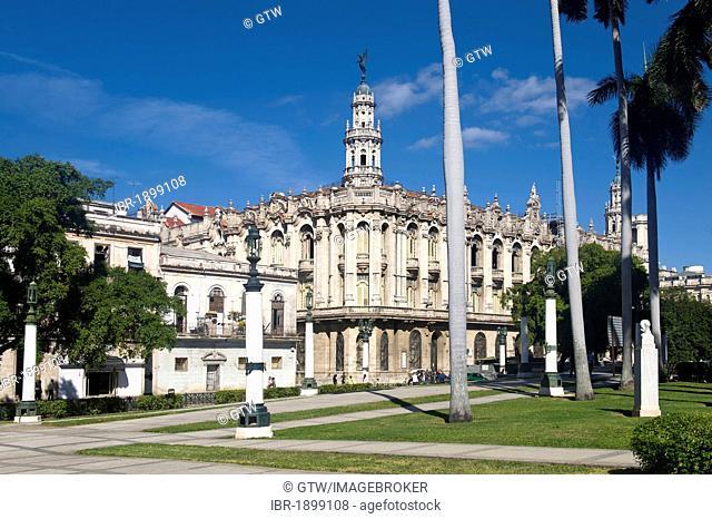 Baroque façade of the Gran Teatro, Great Theatre, Havana, Cuba