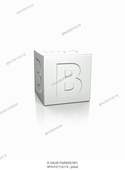 Cube with the letter B embossed