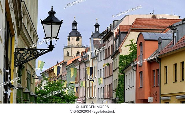 28.05.2015, Germany, Wittenberg, house Gables and towers of the Reformation Church Parish Church St. Marien in Wittenberg