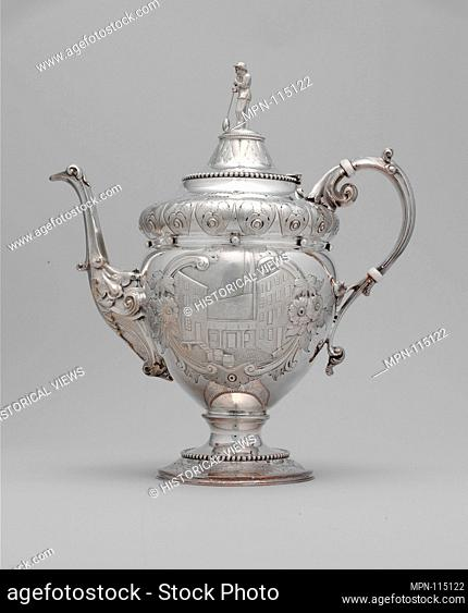 Teapot. Maker: Wood and Hughes (1845-99); Date: 1862-63; Geography: Made in New York, New York, United States; Culture: American; Medium: Silver; Dimensions: 11...