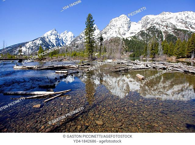 Landscape of Teton Mountain and String Lake, Grand Teton National Park, Wyoming, USA