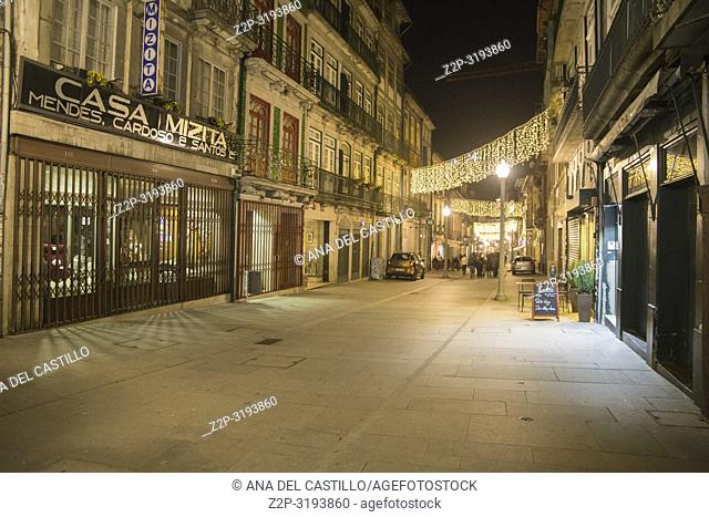 Cityscape by night in Oporto on January 6, 2017 Portugal
