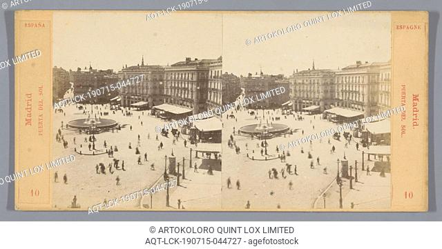 View of the Puerta del Sol in Madrid Madrid, Puerta del Sol. (title on object), square, place, circus, etc, Palacio de Galiana, anonymous, c