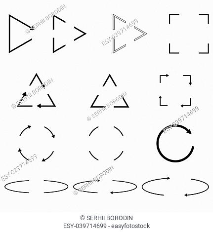 Thin arrows Circle triangle square shapes black color