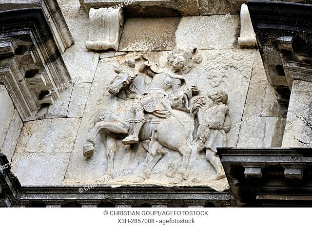 low relief depicting St. Martin of Tours, front of the Sant Marti Sacosta church, Girona, Catalonia, Spain, Europe