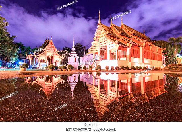 Wat Phra Sing Water reflection Chiang Mai Province Asia Thaila