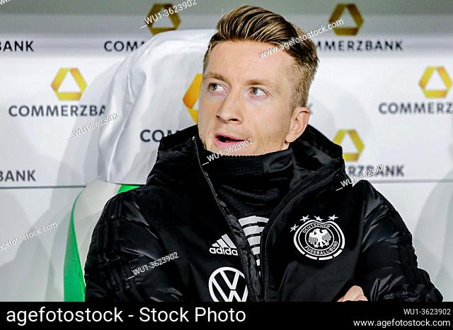 Wolfsburg, Germany, March 20, 2019: Germany national team footballer Marco Reus sitting on the bench during the international soccer game Germany vs Serbia at...