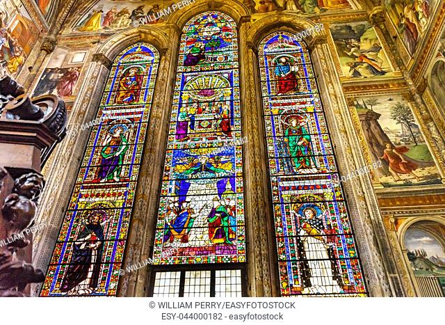 Saints Peter Paul Mary Stained Glass Chapel Santa Maria Novella Church Florence Italy. First Church in Florence founded 1357