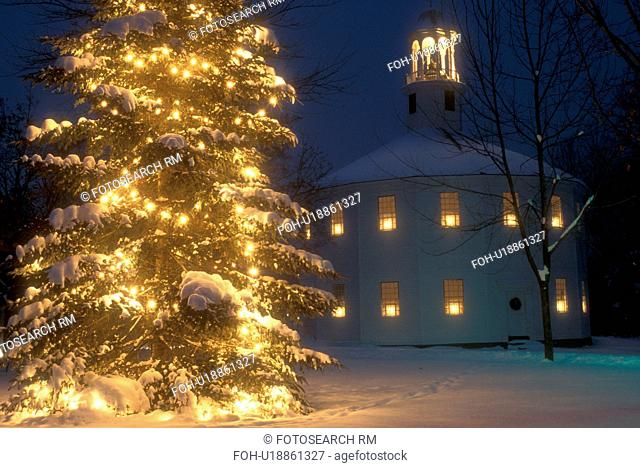 Christmas tree, church, chapel, decorations, holiday, town, outdoor, winter, snow, Vermont, A large evergreen tree with bright white lights and candles in the...