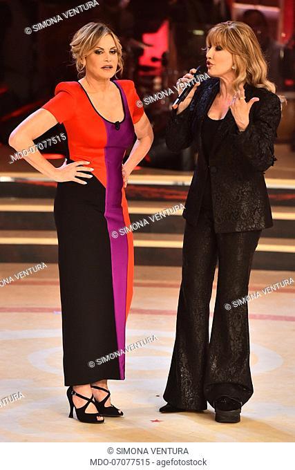 The Italian conductor and showgirl Simona Ventura, guest of the fourth episode of the Ballando con le stelle show at the auditorium Rai del Foro italico
