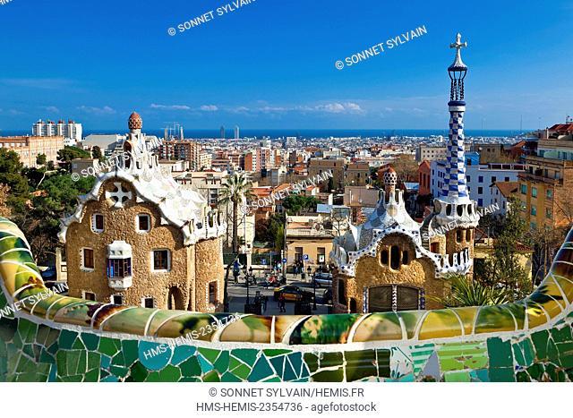 Spain, Catalonia, Barcelona, Park Guell by architect Antoni Gaudi