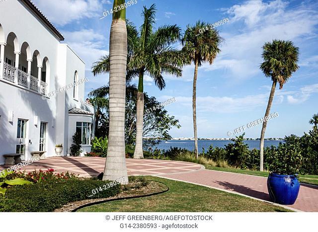 Florida, Jensen Beach, Mansion at Tuckahoe, Mount Elizabeth, Art Deco style, outside, exterior, Indian River Lagoon