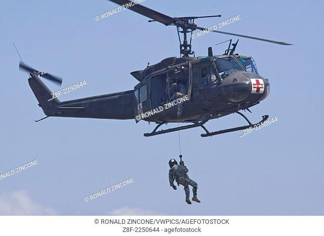 Airshow showing Blackhawk performing rescue, Quonset Point, Rhode Island, United States