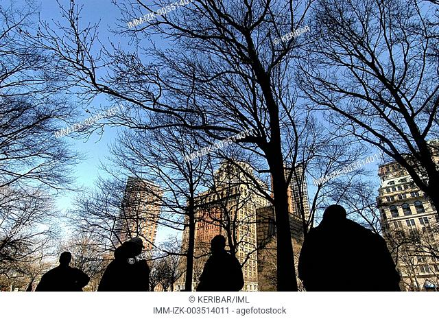 Silhouettes at Battery Park, New York City, United States, America