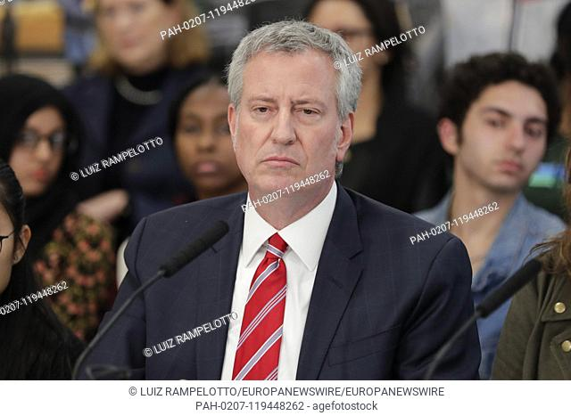 92nd Street Y, New York, USA, April 18, 2019 - Mayor Bill de Blasio Makes Announcement on Reducing Traffic & Improving Bus Service on City Streets today at 92nd...