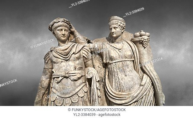 Close up of Roman Sebasteion relief sculpture of Nero being crowned emperor by Agrippina, Aphrodisias Museum, Aphrodisias, Turkey.