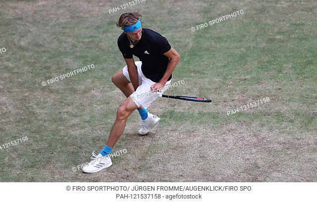 firo Tennis: 20.06.2019 Men's ATP tournament hall eighth-final Alexander Zverev, plays the ball through his legs, joke, humor   usage worldwide