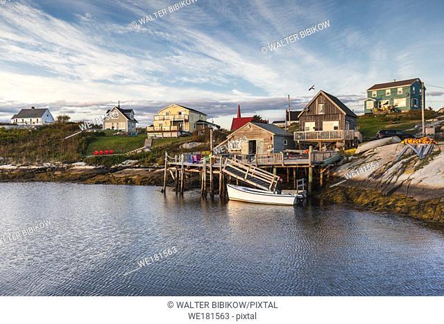 Canada, Nova Scotia, Peggy's Cove, fishing village on the Atlantic Coast, dusk