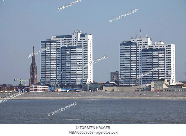 Außenweser with skyline, Columbus Centre, Bremerhaven, Bremen, Germany