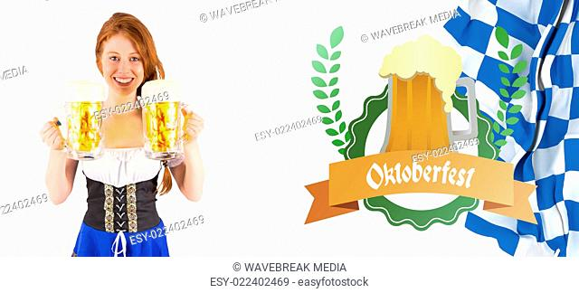 Composite image of oktoberfest girl holding jugs of beer
