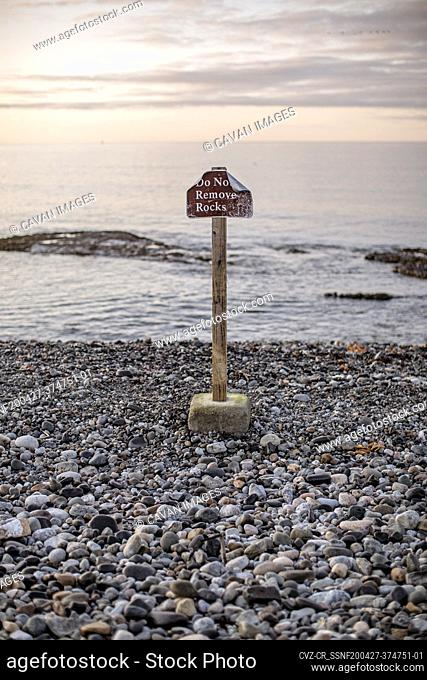 do not remove rocks sign at Seawall Beach Acadia National Park, Maine