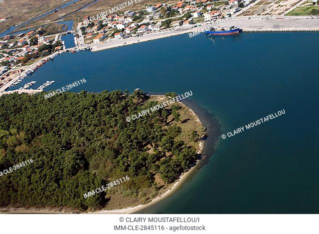 Aerial view of Porto Lagos, a bay and settlement in the Xanthi prefecture of Greece, Europe Porto Lagos, Xanthi, Thrace, Greece, Europe