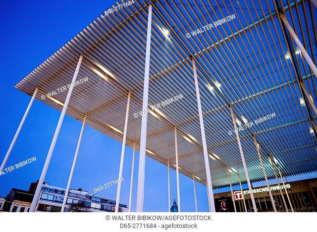 Belgium, Antwerp, Theaterplein, Stadsschowburg theater canopy, dawn