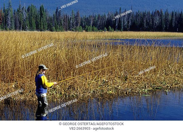 Fishing Hosmer Lake, Cascade Lakes National Scenic Byway, Deschutes National Forest, Oregon