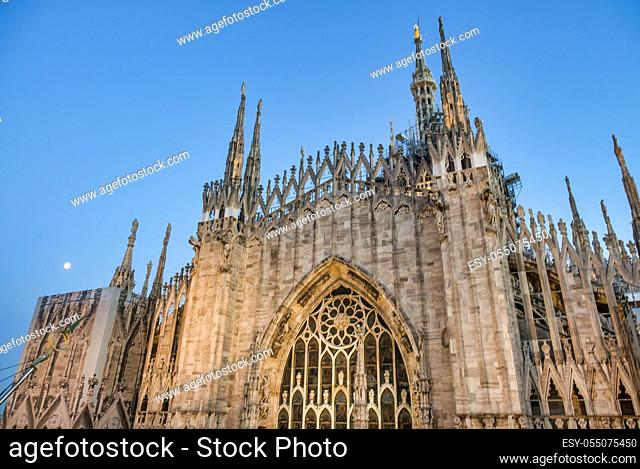 Milan, Italy. Amazing view of Milano Duomo, the Cathedral at sunset