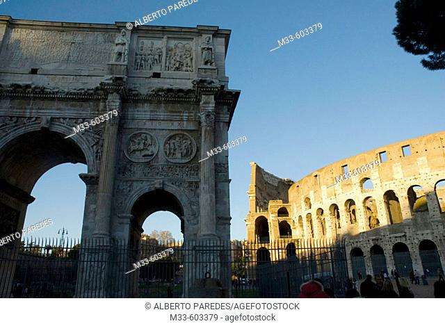 Arch of Titus and Colosseum. Rome. Italy