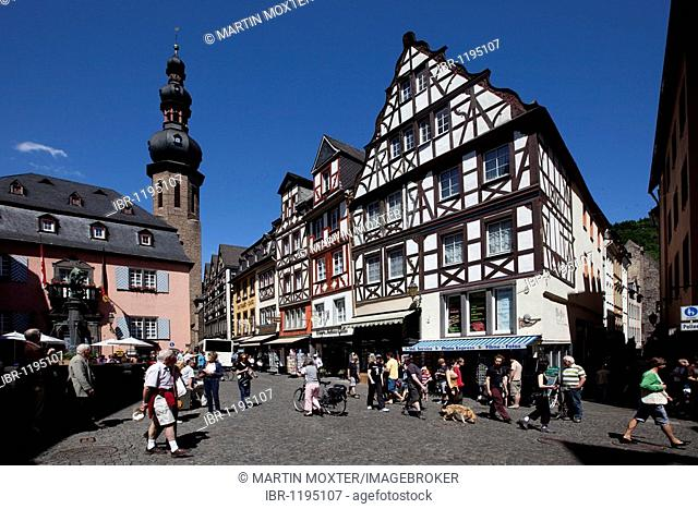 The marketplace of Cochem, district of Cochem-Zell, Moselle, Rhineland-Palatinate, Germany, Europe