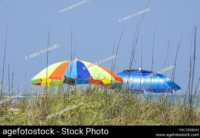 Umbellas on Englewood Beach on Manasota Key on the Gulf of Mexico in Englewood FLorida in the United States