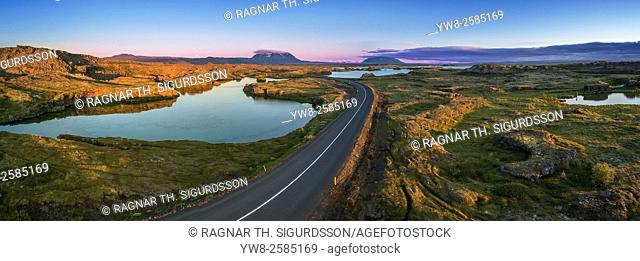 Aerial view of the unique rock formations at Kalfastrond, Lake Myvatn, Iceland. Image shot using a drone