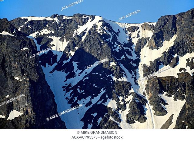 Mounatin peaks and snow Stewart Cassiar Highway British Columbia Canada