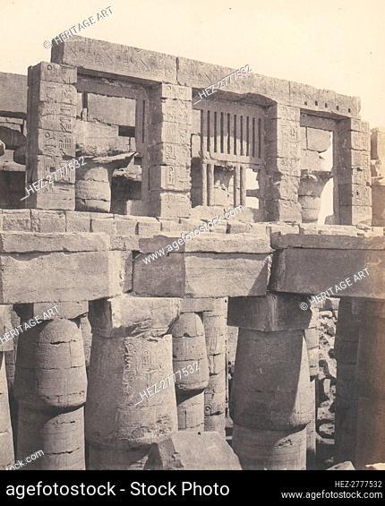 Karnak (Thèbes), Palais - Salle Hypostyle - Fenêtre et Chapiteaux des .., 1851-52, printed 1853-54. Creator: Félix Teynard