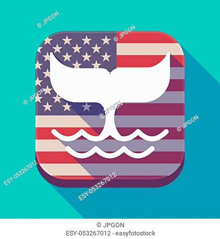 Illustration of a long shadow square app button with the United States of America flag and a whale tail