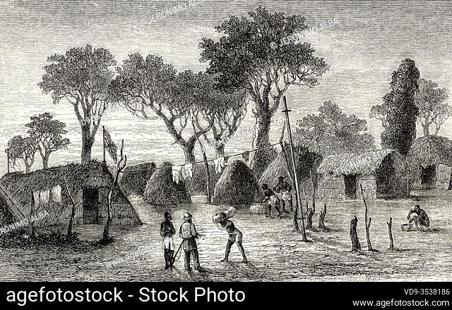 Village of a tribe Loupannda in Central Africa. Journey across Africa, from Zanzibar to Benguela by Verney Lovett Cameron