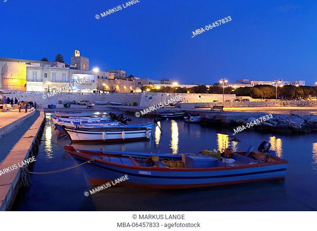 View of the harbour on the Old Town of Otranto, province of Lecce, Salento peninsula, Apulia, Italy