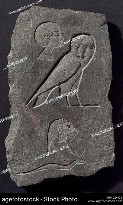Relief Plaque Depicting Hieroglyphic Signs - Early Ptolemaic Period (about 300 BC) - Egyptian - Artist: Ancient Egyptian, Origin: Egypt, Date: 300 BC