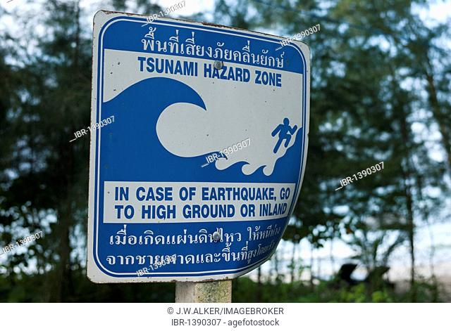 Tsunami warning sign on the beach with direction to escape route, Khao Lak, Phuket, Thailand, Asia