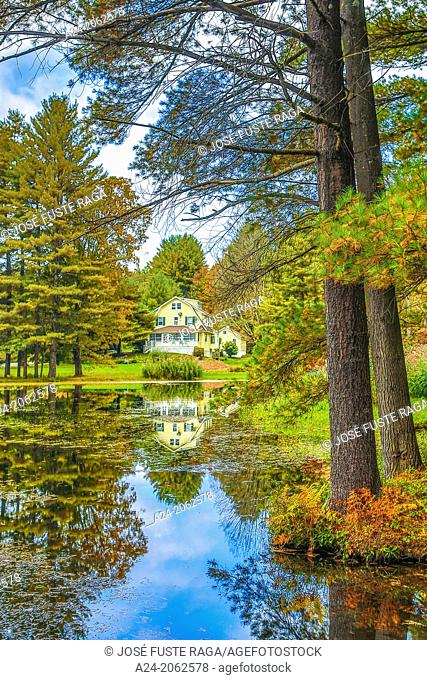USA ,Massachusetts, Berkshire District, Near Lee City, House and Pond