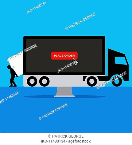 Using computer and credit card for home delivery